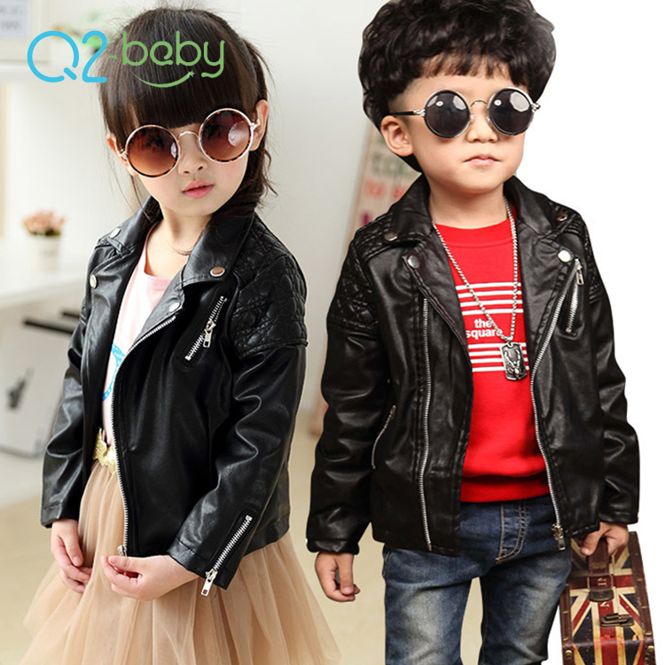 Q2-baby March Expo Girls Boys Black Baby PU Leather Motorcycle Jackets For Kids