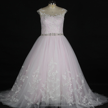 2018 Real Photo Bridal Gown Pink Tulle Long Lace Pattern Elegant Bling Wedding Dress Ball Gowns