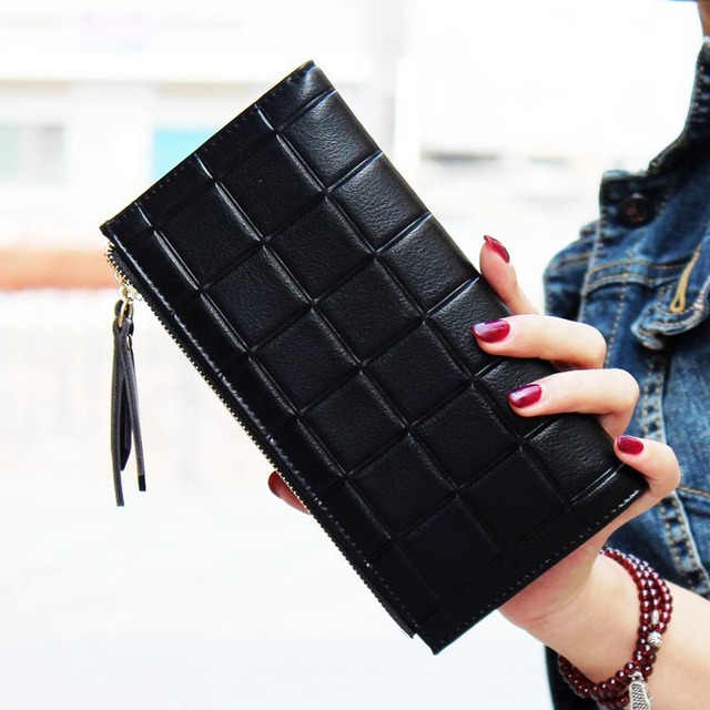 2016 New Fashion Stereoscopic Square Women Wallets Embossed Wallet Female Clutch Double Zipper Purses Carteira Feminia Gift