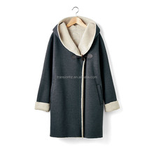 ladies long autumn winter jacket/coat with hood and sherpa fleece lining