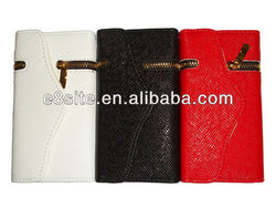 For iPhone 5 Zipper Design PU Wallet Stand Leather Case