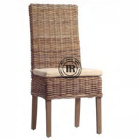 Rattan Dining chair, Wood frame side chair,Off-white seat cushion chair