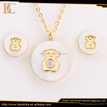 lovely bear round shell gold stainless steel jewelry set for kids