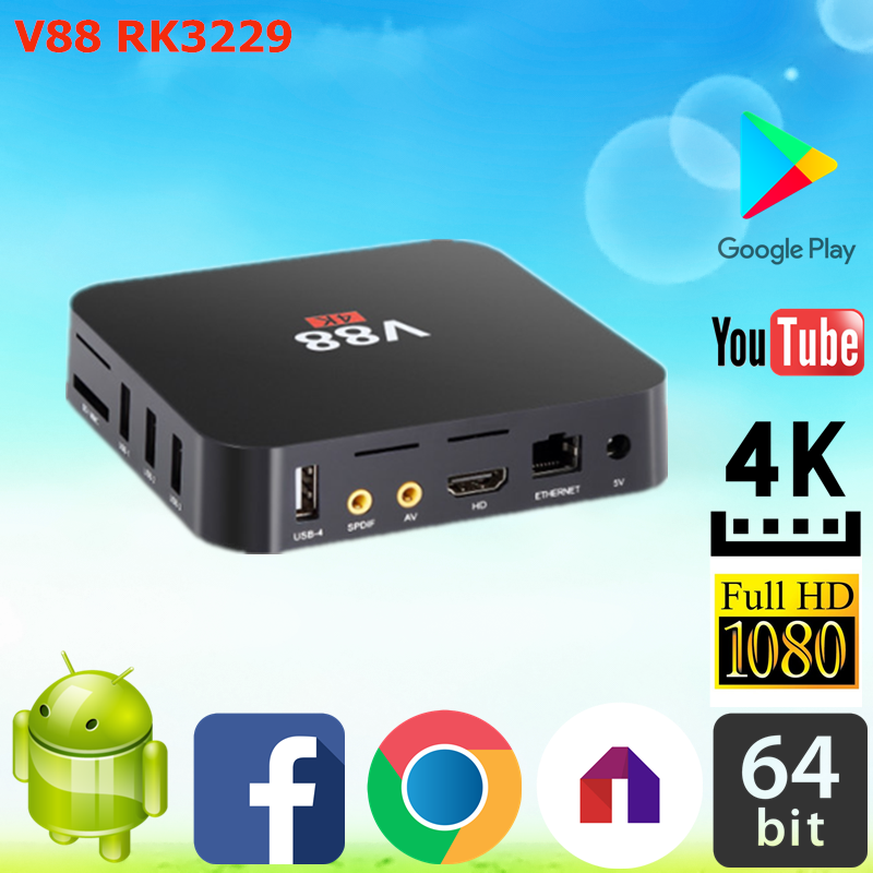 2017 Dragonworth New Brand V88 RK3229 1G 8G Android tv box android iptv With Long-term Service ott 6.0