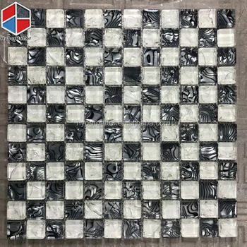 Crystal black and white glass mosaic