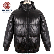 PU leather plus size new style with hoodie mens outdoor short style windproof down jacket