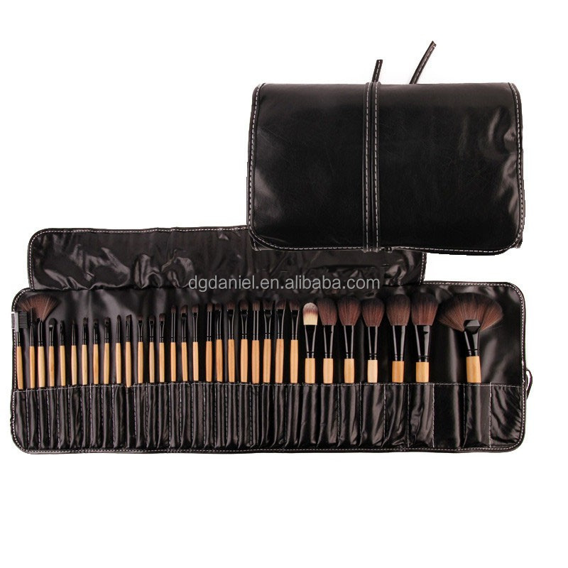 Hot sale Synthetic hair 32pcs brown makeup brush set cosmetic Eyebrow foundation powder make up set