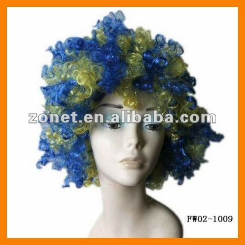 Blue +Yellow Football Fan Wig Party Cosplay Sports Fan Afro Wig FW02-1009