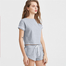 Women Two Piece Sport Outfit Soft Cosy Shirt and Casual Short Pants Sportswear