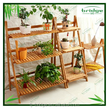 2015 hot bamboo wooden flower shelf rack for garden balcony