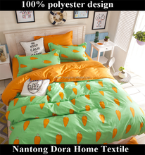 beautiful lovely carrot coming home bedding 100% polyester cute bed linen series for grils