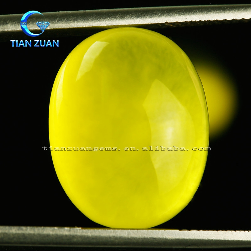 machine cut flat back cabochon oval shape Natural Golden Prehnite Grapestone for wholesale pirce