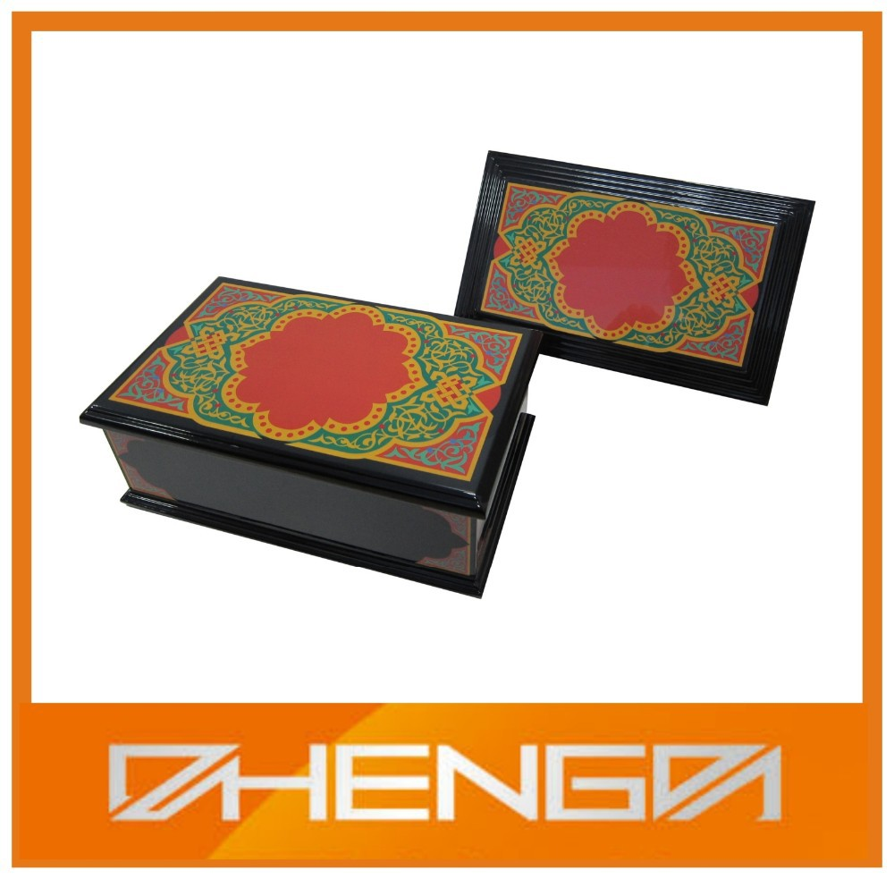 High quality customized color print fancy wood box photo box