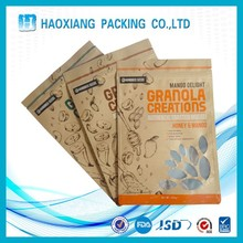 OEM natural kraft paper pouch moisture proof plastic lined resealable kraft paper bags with shaped window