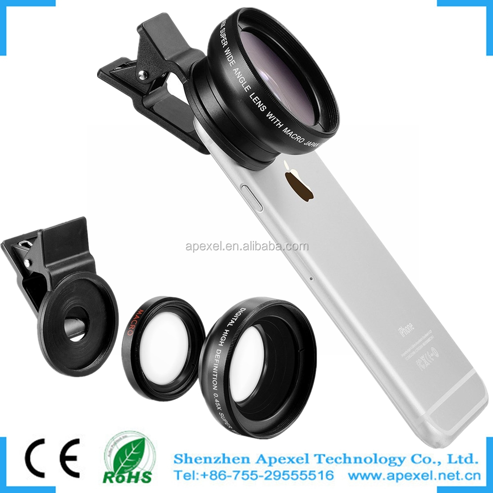 2016 Trending Phone Accessories Universal Wholesale OEM Camera Lens 2 in 1 0.45x wide Angle+Macro cover for mobile smart phone