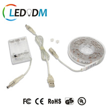 5V Battery USB LED Strip Lights 2.0m RGB SMD 5050 IP65 Waterproof Flexible Color Changing Decoration Light with Mini Controller
