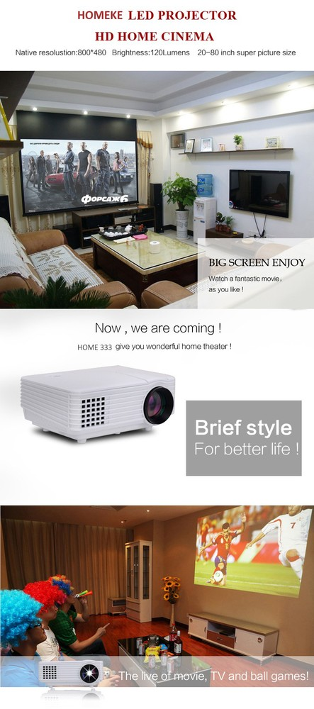 2017 Best Sell HOME 333 Mini LED Projector /Pico Projector/Home Theater Projector 800 Lumens 1080P