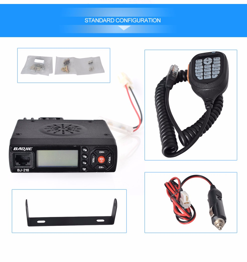 New launch MINI mobile radio BAOJIE BJ-218 25W powerful mini dual band mobile radio transceiver