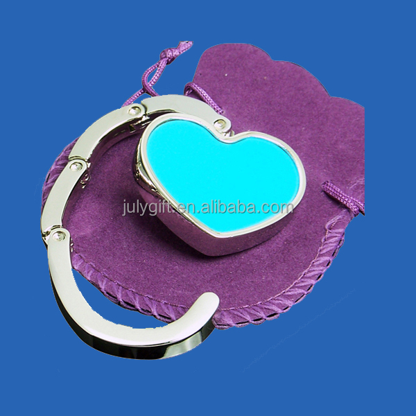 custom foldable heart shape purse hook