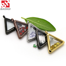 34*30MM New Design Triangle Shape Glass Waterproof Floating Locket Stainless Steel Pendant For Hanger Ketting