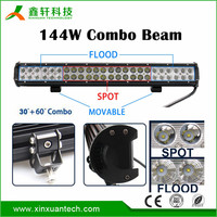 "IP67 high bright 23"" quad row 144w led light bar for 4x4 offroad vehicles"
