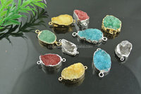 colorful Druzy connector tiny Druzy gemstone connector for bracelet new design natural drusy stone jewelry acceossories