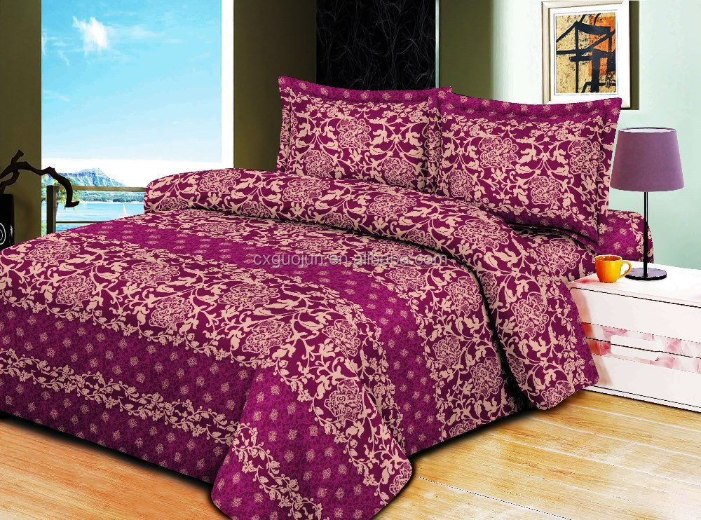 Fashion design factory price new pattern 100% polyester 3D reactive printed queen king size 3d bedding set for bedroom