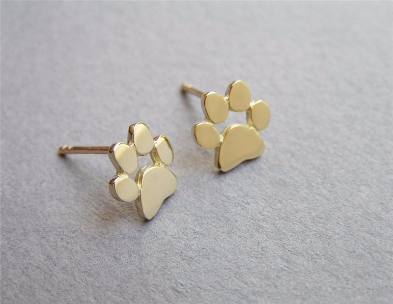 New Fashion Cute Paw Print Earrings for Women Cat and Dog Paw Stud Earrings