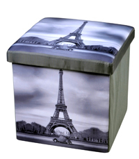 faux leather folding storage ottoman pvc storage ottoman with printing