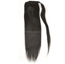 Wholesale 8A Top Grade 100% Human Hair Black Clip Wrap Around Ponytail
