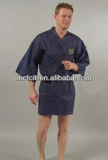 disaposable male kimono fabric robe, sauna suit manufacture