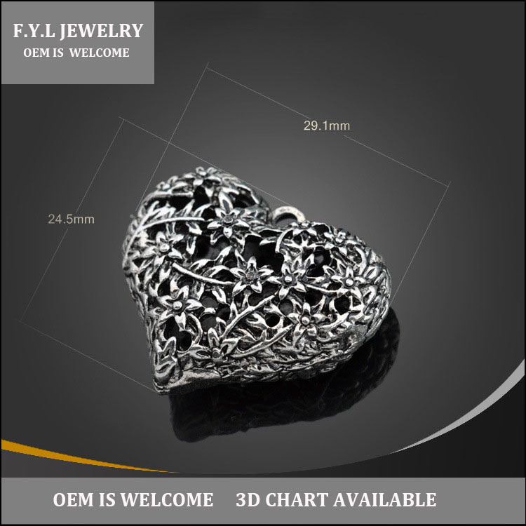 9122-1568 spot fine zinc alloy metal silver heart necklace stereo hollow pattern charms