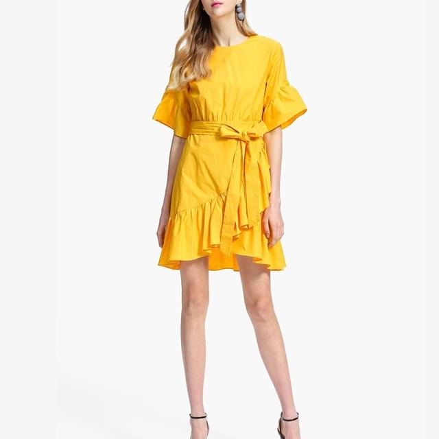 High Quality Stylish Lady Day Dress Women Lotus leaf irregular dress
