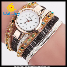 WJ-6157 long leather with rhinestone charming fancy geneva simple watches