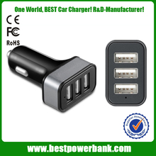 High Quality Micro Auto Universal 3 USB Car Charger For iPad iPhone 5V 5.2A/7.2