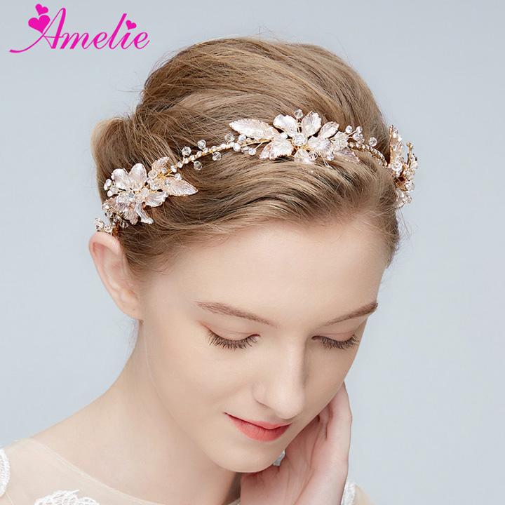 Handmade Hair Vine Bridal Boho Delicate Crystal Enamel Leaf Cluster Lush Wedding Headpiece Dress Women Headband