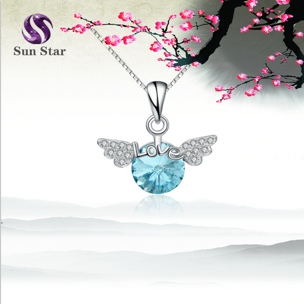 925 sterling silver Angel wings Elegant crystal pendant