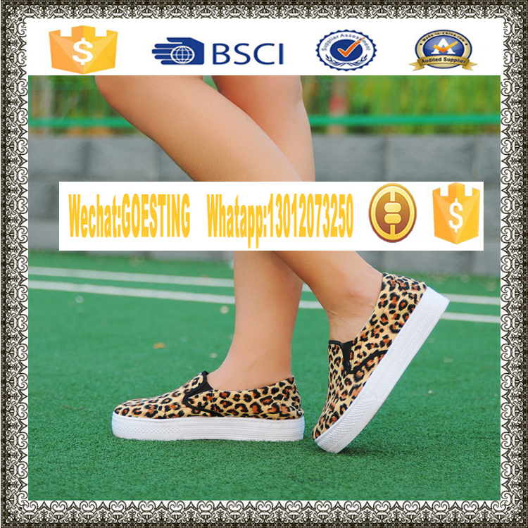china new design causal cavans shoes slip on flat shoes with animal pattern