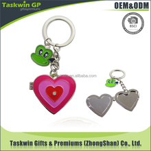 Custom metal keychain with soft enamel sweet heart design lovers gift