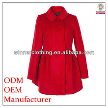 Trendy design long sleeve peter pan collar ladies fashion winter red coats