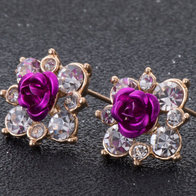 High Quality Rhinestone Flower Crystal Stud Earrings For Women Party Rose Pink Blue Romantic  Boho Fashion Jewelry e0155