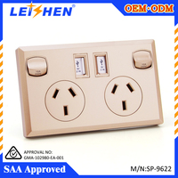 SAA certificated Australian standard USB wall socket with electrical wall switches
