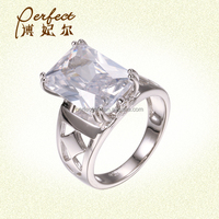 Hot Sale Handmade Engagement CZ Ring 925 Silver with Rhodium Plated Jewelry