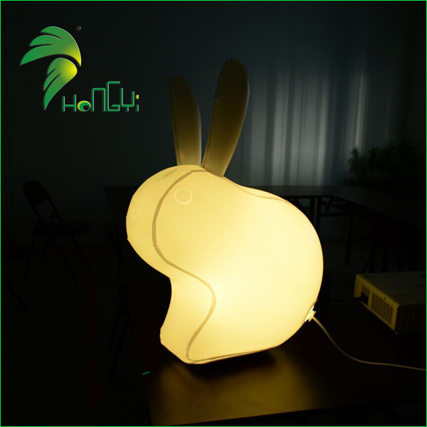 Colorful Lighting Up Rabbit Shaped Balloons / Easter Decorative Inflatable Rabbit With Led Light