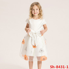 High quality summer latest children frocks designs dress puffy bows white dresses short sleeve