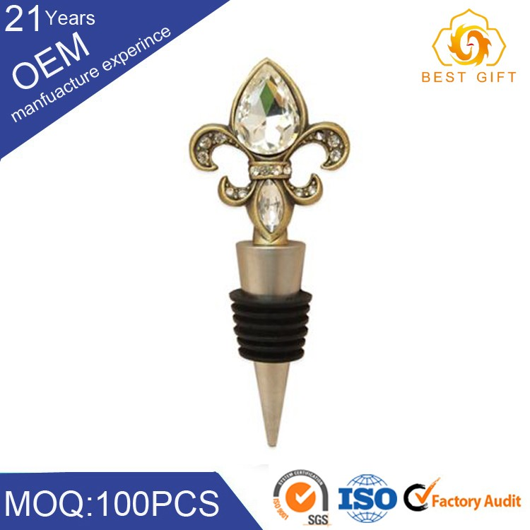 Factory provide OEM craft glass metal wine stopper