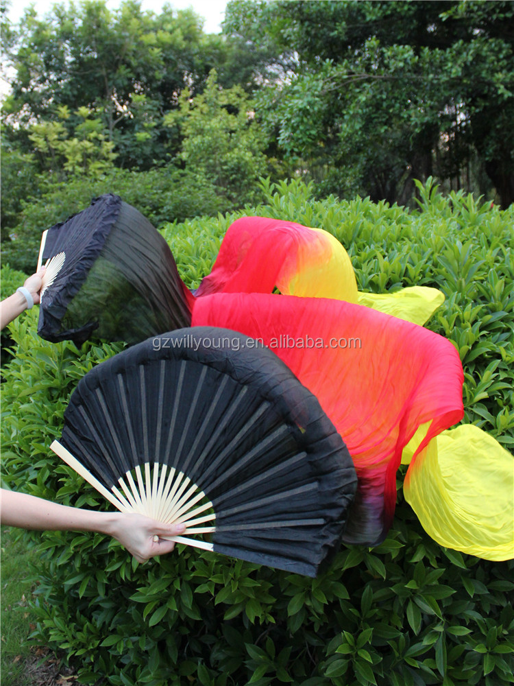 New Arrival Belly Dance Silk Fans, Belly Dance Silk Veils, Black-Red-Yellow fire color