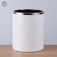 Fashionable white and silver style round flower planter pot with high quality for office desk