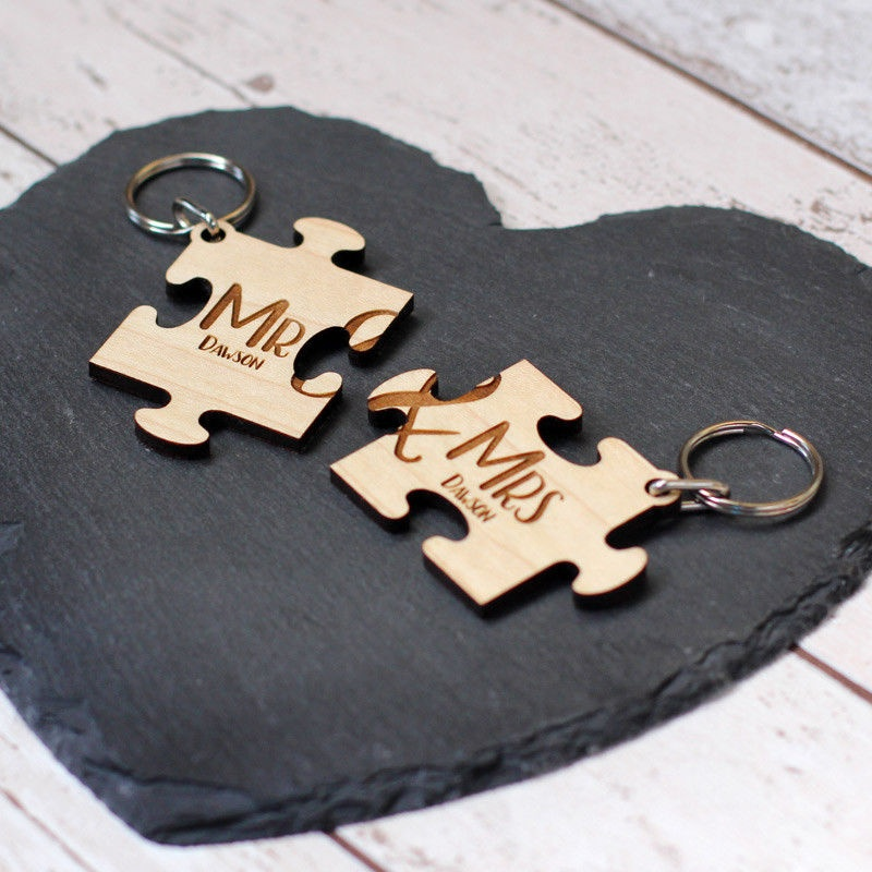 Personalised Mr & Mrs Wedding Couples Jigsaw Keyrings