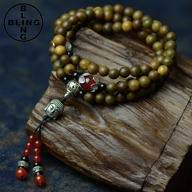 Wholesale Original national style DIY beads pendant Elasticity necklace multilayer Buddha wood beaded women bracelet